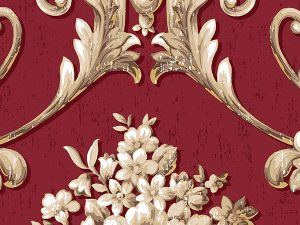 Tapet clasic damasc rosu crem