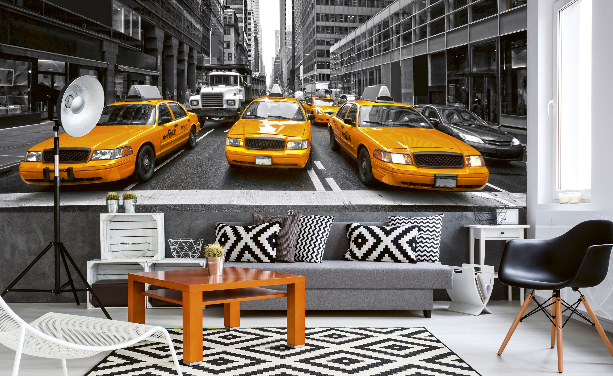Fototapet Yellow Cabs – panorama